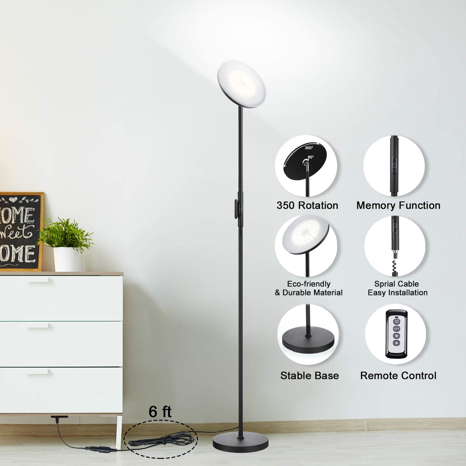 JOOFO Floor Lamp, 30W/2400LM Sky LED Modern Torchiere 3 Color Temperatures Super Bright Floor Lamps-Tall Standing Pole Light with Remote & Touch Control for Living Room, Bed Room, Office(Black) - -