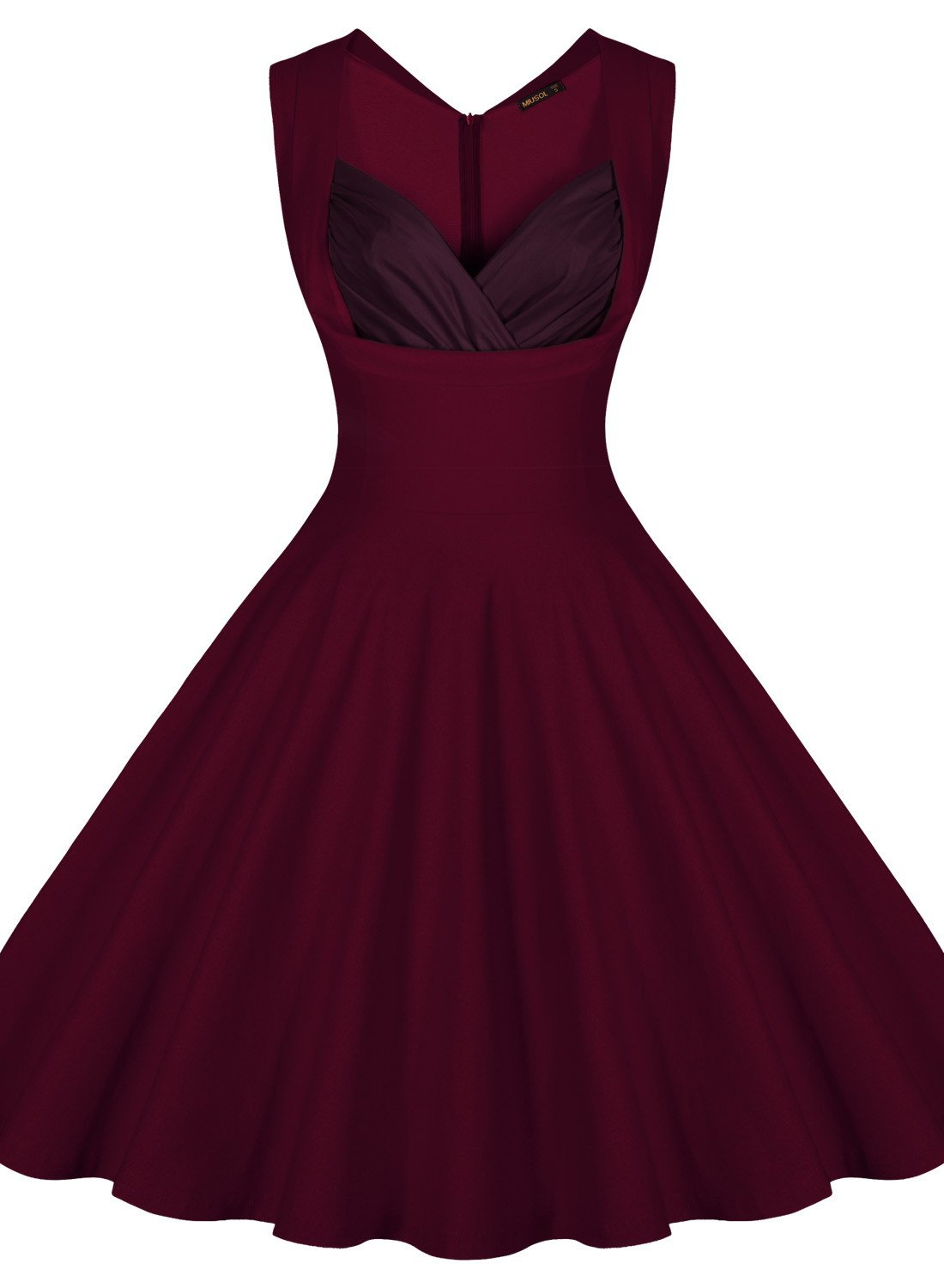 Miusol Women's Vintage 1950s V-Neck Sleeveless Evening Party Swing Dress,Red,Medium