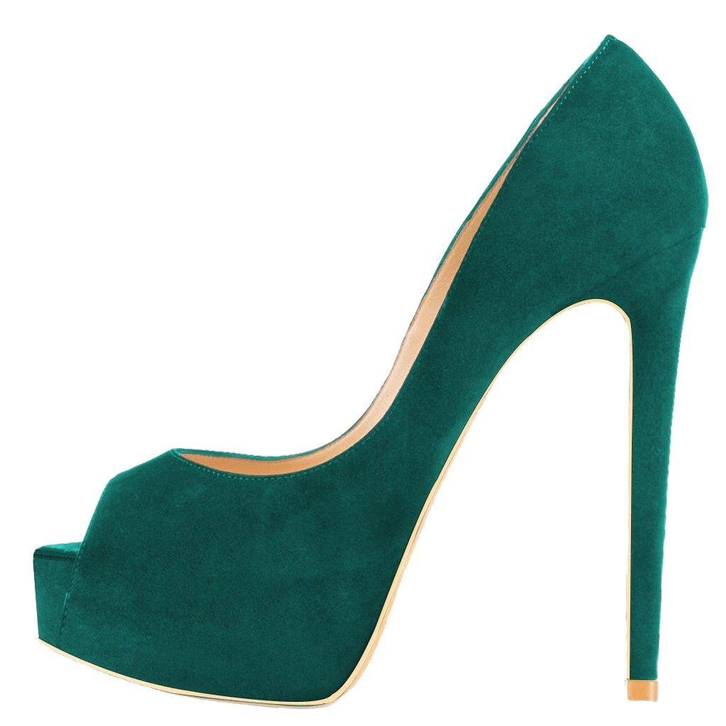 EKS - Zapatos de Tacón Mujer 43 EU|Verde - Grün-wildleder