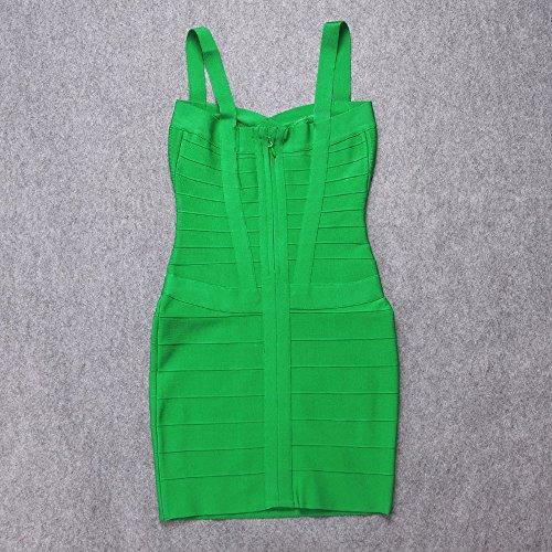 Hlbandage Rayon Spaghetti Verde Bodycon Strap Dress Women's Mini Bandage rqrUStBx
