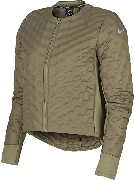 Nike Womens Aeroloft Down Fill Full Zip Running Jacket Olive