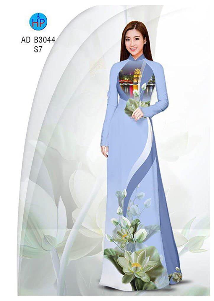 Silk 3D ADVN00313 Ao Dai Traditional Vietnamese Long Dress Collections with Pants All Size