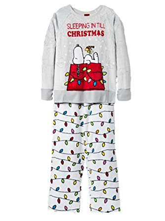 peanuts girls snoopy woodhouse christmas pajamas holiday fleece sleep set xs - Snoopy Christmas Pajamas