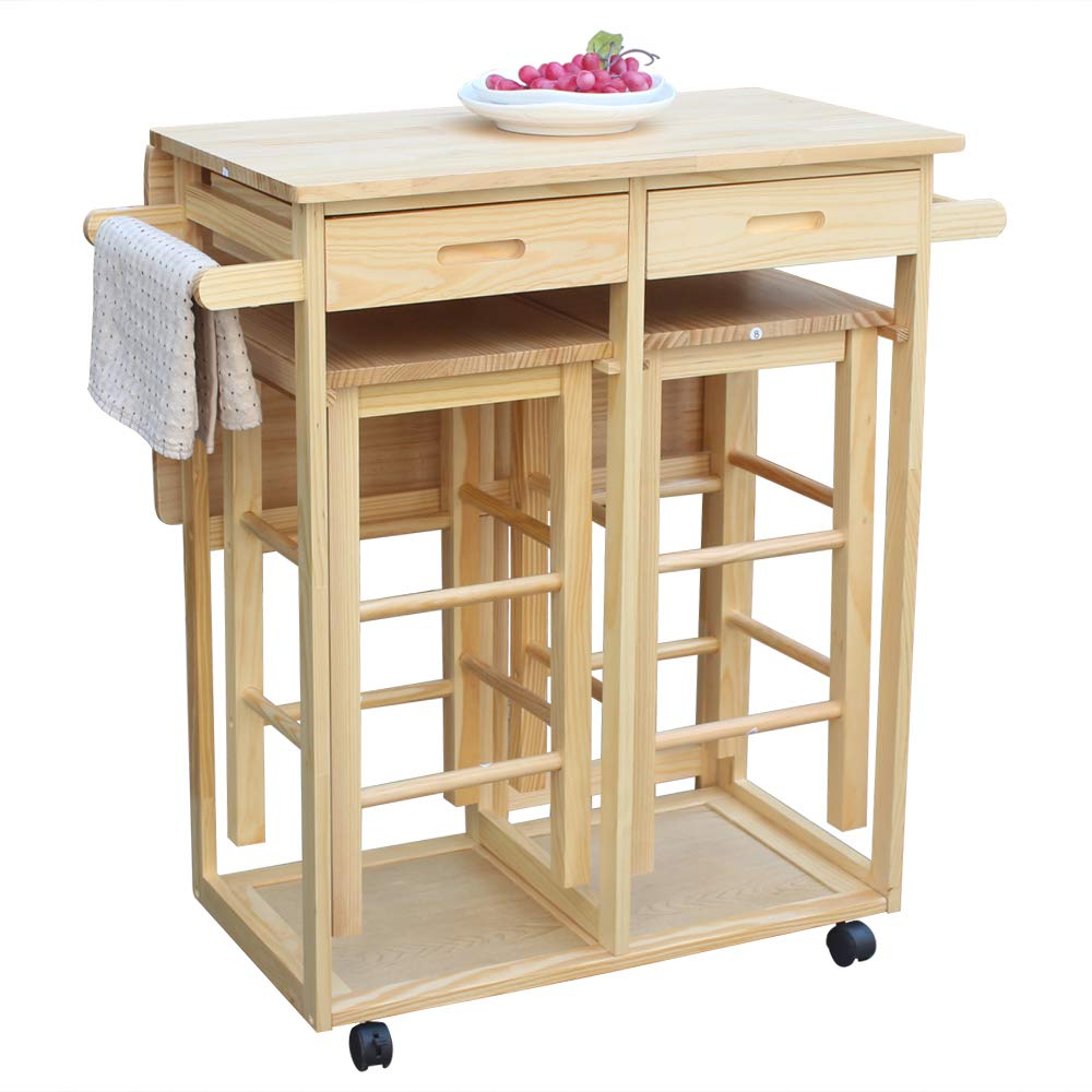 Amailtom Kitchen Island Trolley Cart,3-Piece Foldable Square Breakfast Cart Kitchen Rolling Casters Dining Table Set Space Saving Kitchen Table On Wheels with 2 Stools,2 Drawers for Indoor Outdoor