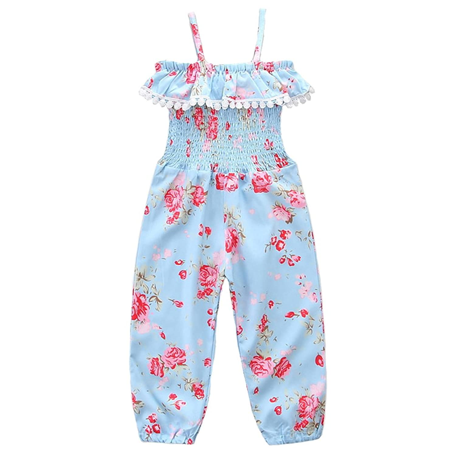 Dragon Honor Kids Baby Girls Straps Rompers Floral Tassel Sling Jumpsuits Piece Pants Clothing