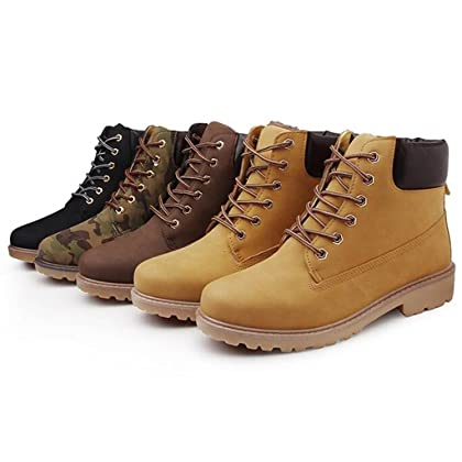 5a4e76b10bf1 ... DADAWEN Women s Lace Up Low Heel Work Combat Boots Waterproof Ankle  Bootie Black US Size 8 ...