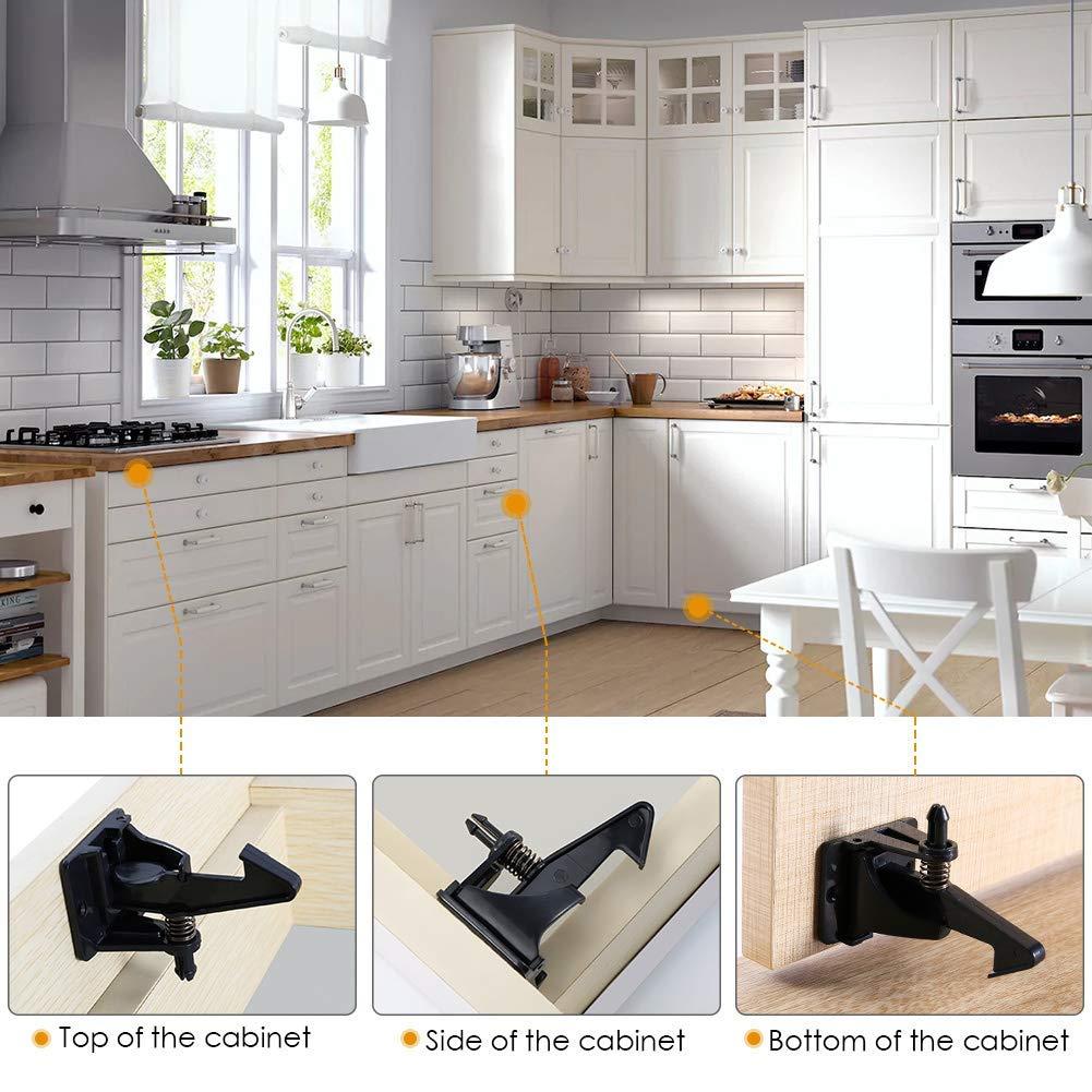 ROTEK Kindersicherung Schrank (18er Pack) Unsichtbare Schubladensicherung  Babysicherung Schrankschloss für Schubladen und Küchen Schranktüren,