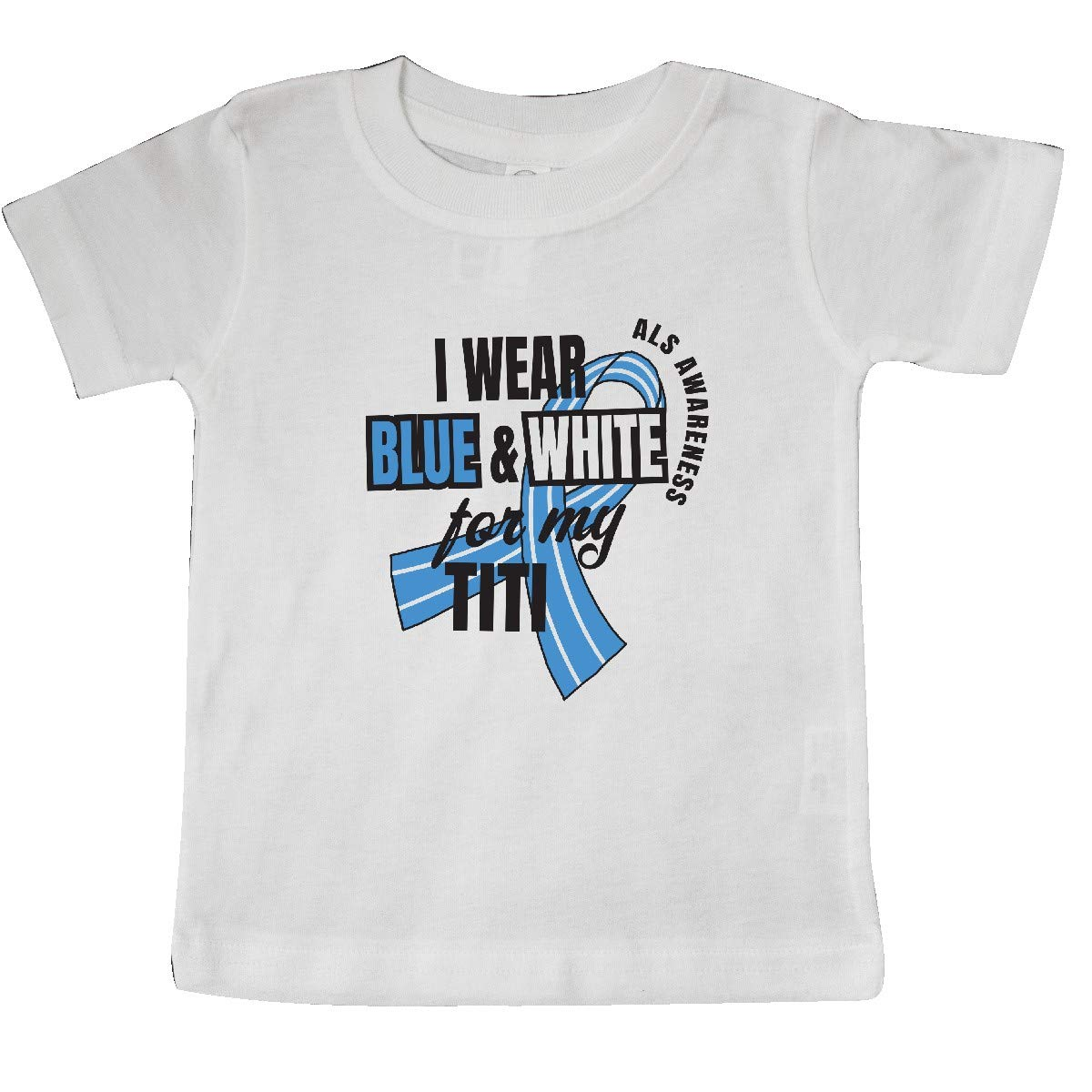 inktastic I Wear Blue and White for My Titi ALS Awareness Baby T-Shirt