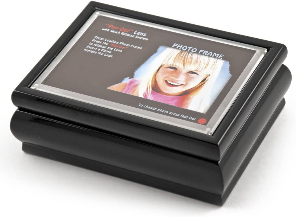 "4"" X 6"" Black Lacquer Photo Frame Music Kasten mit neu Pop-aus Lens System - viele Songs zu Choose - Love Story (Love Story die Movie)"