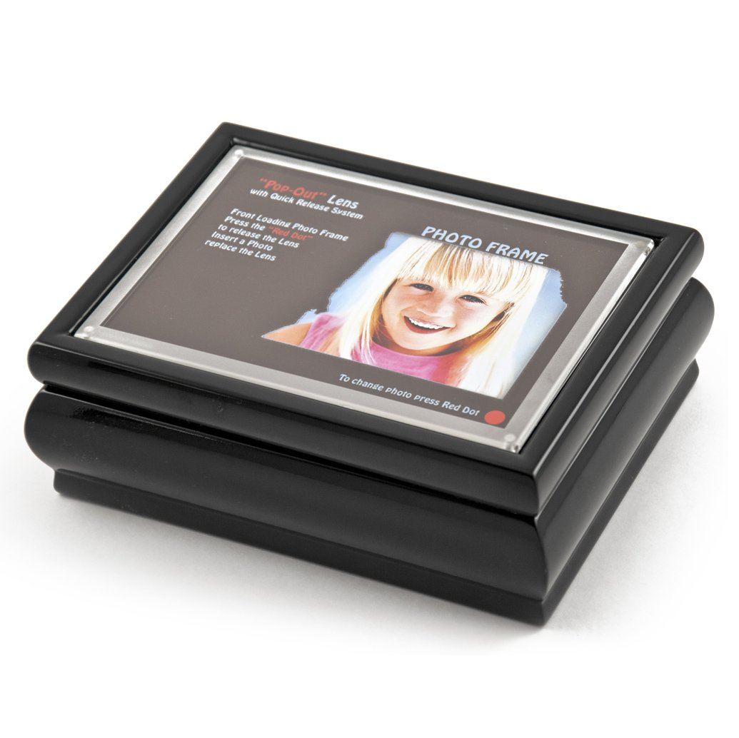 4'' X 6'' Black Lacquer Photo Frame Music Box With New''Pop - Out'' Lens System - Over 400 Song Choices Take Me Home Country Roads (John Denver)