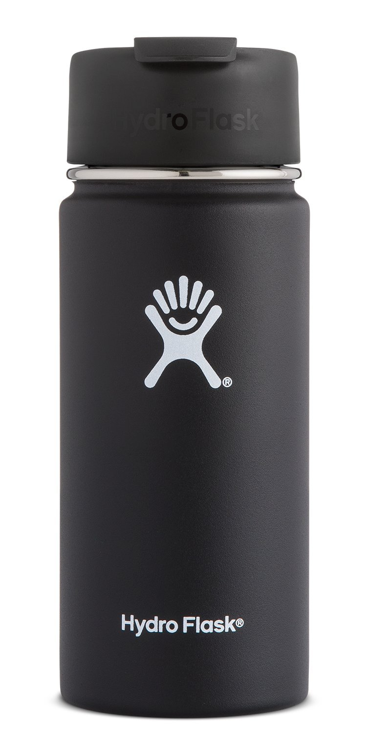 Hydro Flask 20 oz Double Wall Vacuum Insulated Stainless Steel Water Bottle/Travel Coffee Mug, Wide Mouth with BPA Free Hydro Flip Cap, Black