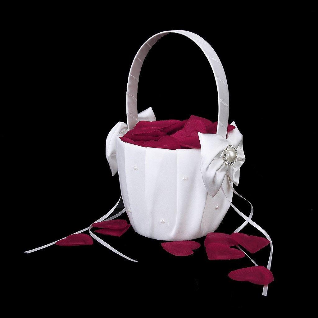 1 cesta de boda con dise/ño de flor y lazo de sat/én decoraci/ón de diamantes de imitaci/ón color marfil perlas sint/éticas Hilai