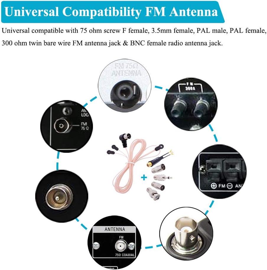 Fancasee Antena FM para Interior Tipo T Tipo Antena dipolar, 75 ohmios, Tipo F, Conector Macho a presión, Antena FM con PAL y Adaptador de Conector de ...