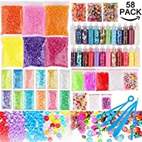 Candygirl Slime Supplies Kit, 58 Pack Slime Beads Charms, Include Foam Balls,Fruit Flower Animal Slices, Pearls, Glitter Jars , Fishbowl beads,Slime Tools for Girl Slime Party, DIY Slime Making, Homemade Slime