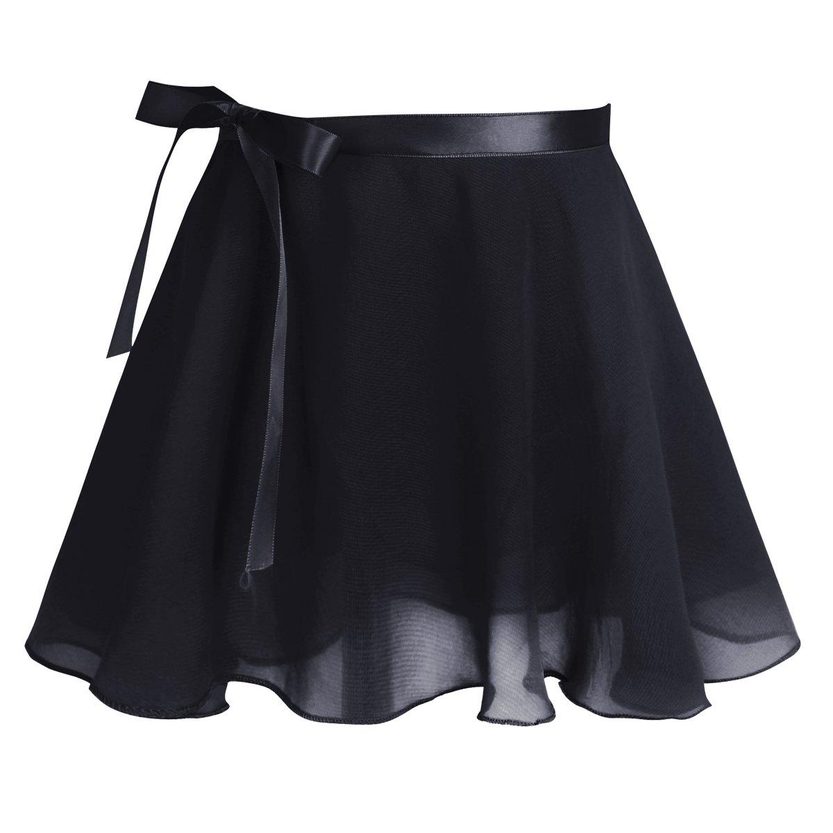 ranrann Girls Princess 2PCS Adjustable Straps Cotton Ballet Leotard with Chiffon Wrap Skirt Set