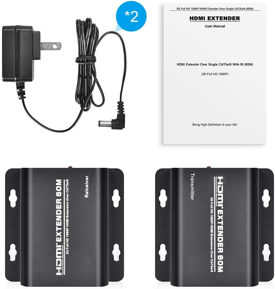ELUTENG HDMI Extender Over Single Cat 5E//6//6a Up to 196ft Ethernet LAN Cable Switch Network RJ45 to HDMI Extension Adapter Transmitter and Receiver Support Full HD 1080P 3D HDCP EDID 60M