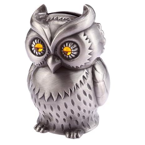 Amazon Com Hkjc Vintage Engraved Metal Owl Piggy Bank Pewter Money