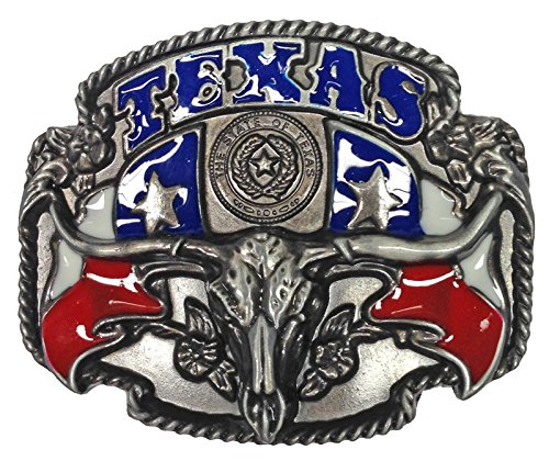 Texas Steer Skull Belt Buckle, Pewter Finish, Color Enamel Fill