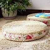 3BEES Japanese Style Handcrafted Eco-friendly Breathable Padded Knitted Straw Flat Seat Cushion,Hand Woven Tatami Floor Cushion Corn Maize Husk linen Fabric Side Futon (Round diameter 45cm, ROSE)