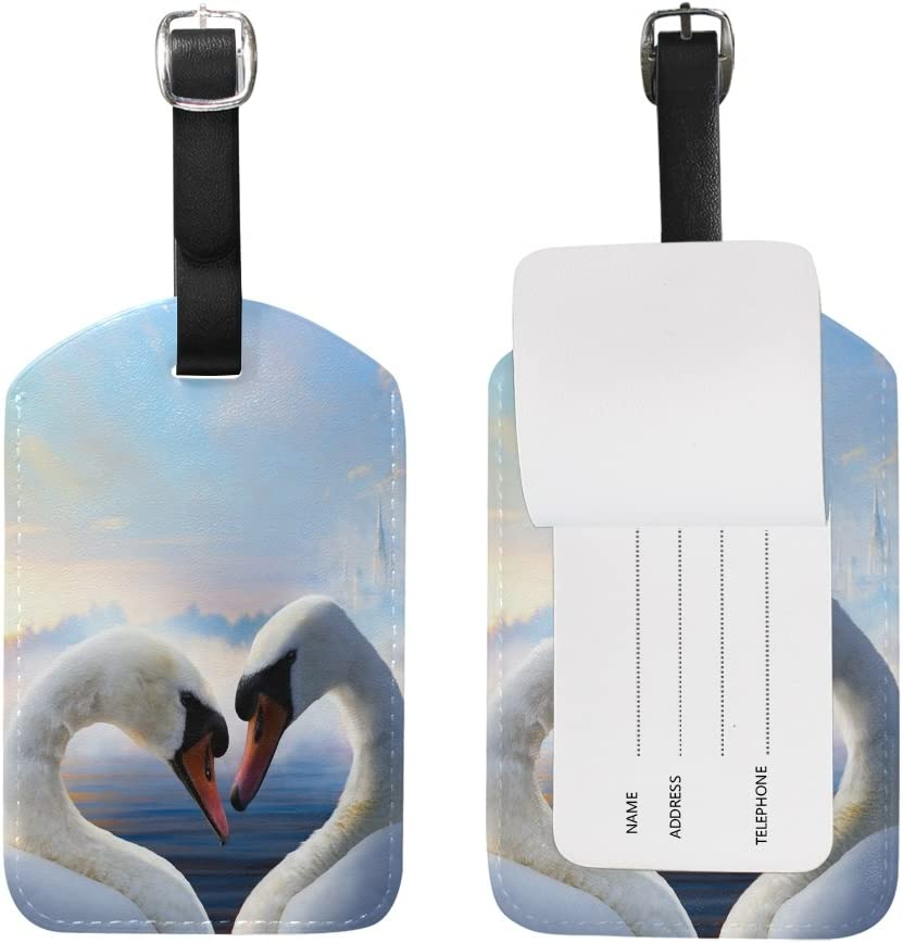 Chen Miranda Swans Love Travel Luggage Suitcase Label ID Tag PU Leather for Baggage 1 Piece