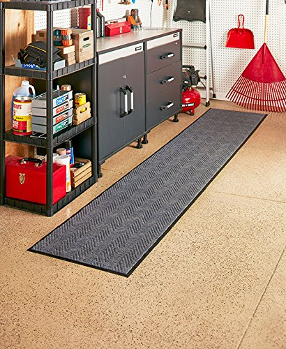 """The Lakeside Collection 96"""" Indoor/Outdoor Extra-Long Utility Runner (Gray)"""