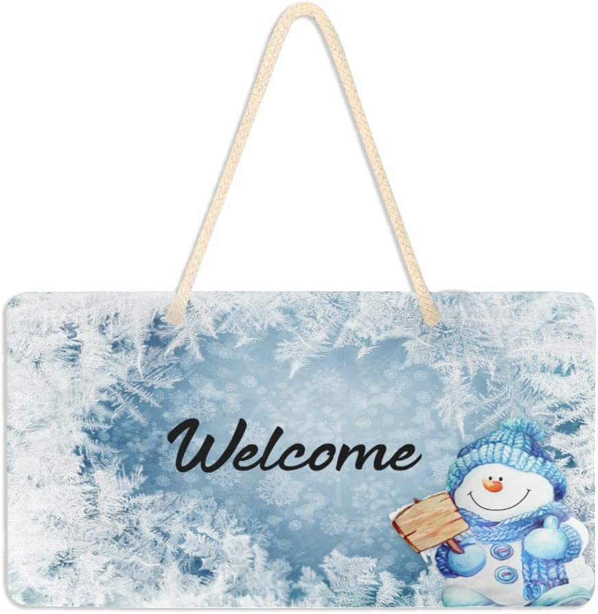 Blueangle Blue Snowman Welcome Sign - Front Door Decor Wall Hanging Acrylic Plaque Porch Decorations for Home