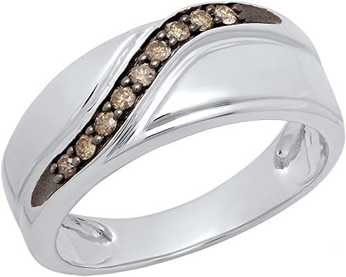 Sterling Silver Brown Diamond Engagement Ring Wedding Band Mens 1//4 ct