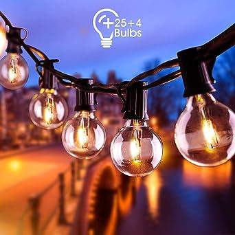 AETKFO Guirnalda Luces Exterior, Cadena de Luces G40 Guirnaldas Luminosas de Exterior Interiores 9,5 m Bombilla con 25+4 Cadena de Luz para Patio,Bodas, Jardín, Decoración, Fiestas- Impermeable IP44: Amazon.es: Iluminación
