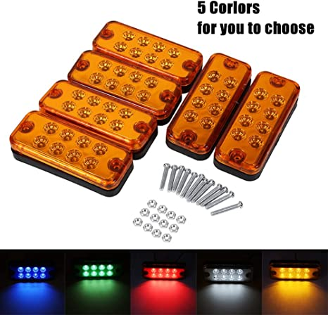 Clearance Side Marker Lamp 6pcs 8 LED Clearance Side Marker Light Indicator Lamp Truck Trailer Lorry red