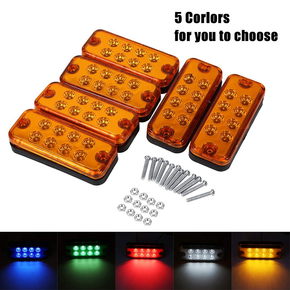 6Pcs 12V 8 LED Luz de Marcador Lateral Lá mpara Indicadora Lateral para Vehí culos ( Color : Rojo ) VGEBY