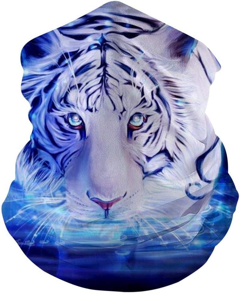 Mamihong Blue Light Tiger Bandanas de mascarilla Personalizadas para Polvo, Sports Casual Headwear Seamless Neck Gaiter, Headwrap