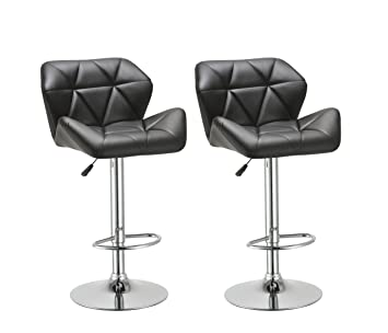 Attractive Duhome 2 Pcs Contemporary Synthetic Leather Bar Stools Kitchen Counter Pub  Chairs (Black)