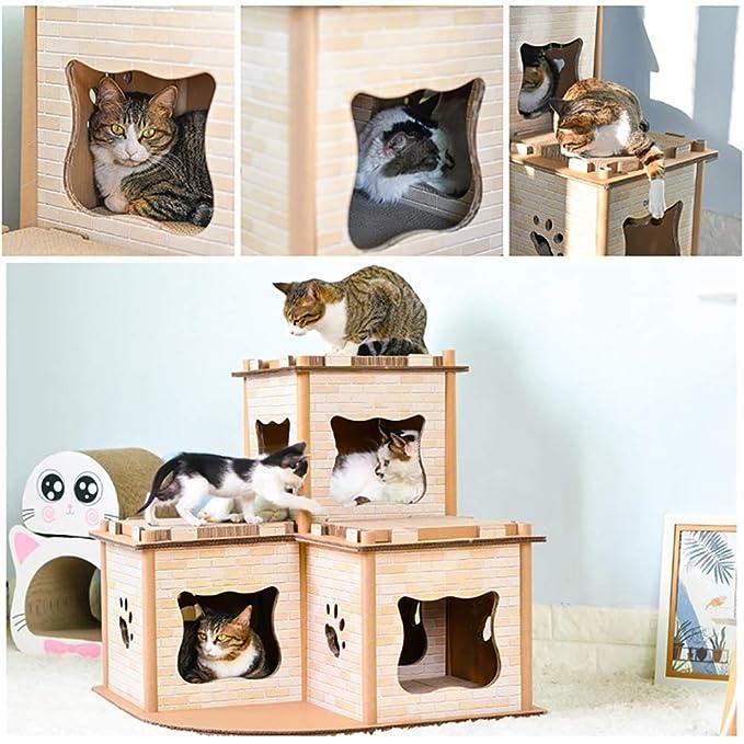 DJLOOKK Cato con Rascador Casa de Gato de Papel Corrugado Creativo Gato Grande mansión Gato Escalada Marco Gato Rascarse Gato Garra Juguete,A: Amazon.es: ...