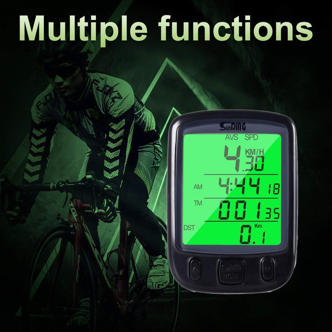 Contachilometri per Bicicletta con Schermo LCD Garciakia Colore: Verde con Monitor retroilluminato per la Distanza e Il Tempo di Guida