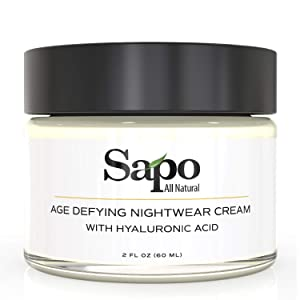 Sapo All Natural Nightwear Cream. Made with Vitamin B, Vitamin C, Vitamin E, Lavender Oil, Hyaluronic Acid and Paeonia Lactiflora Root Extract. Moisturizes, hydrates your face for an antiaging effect.