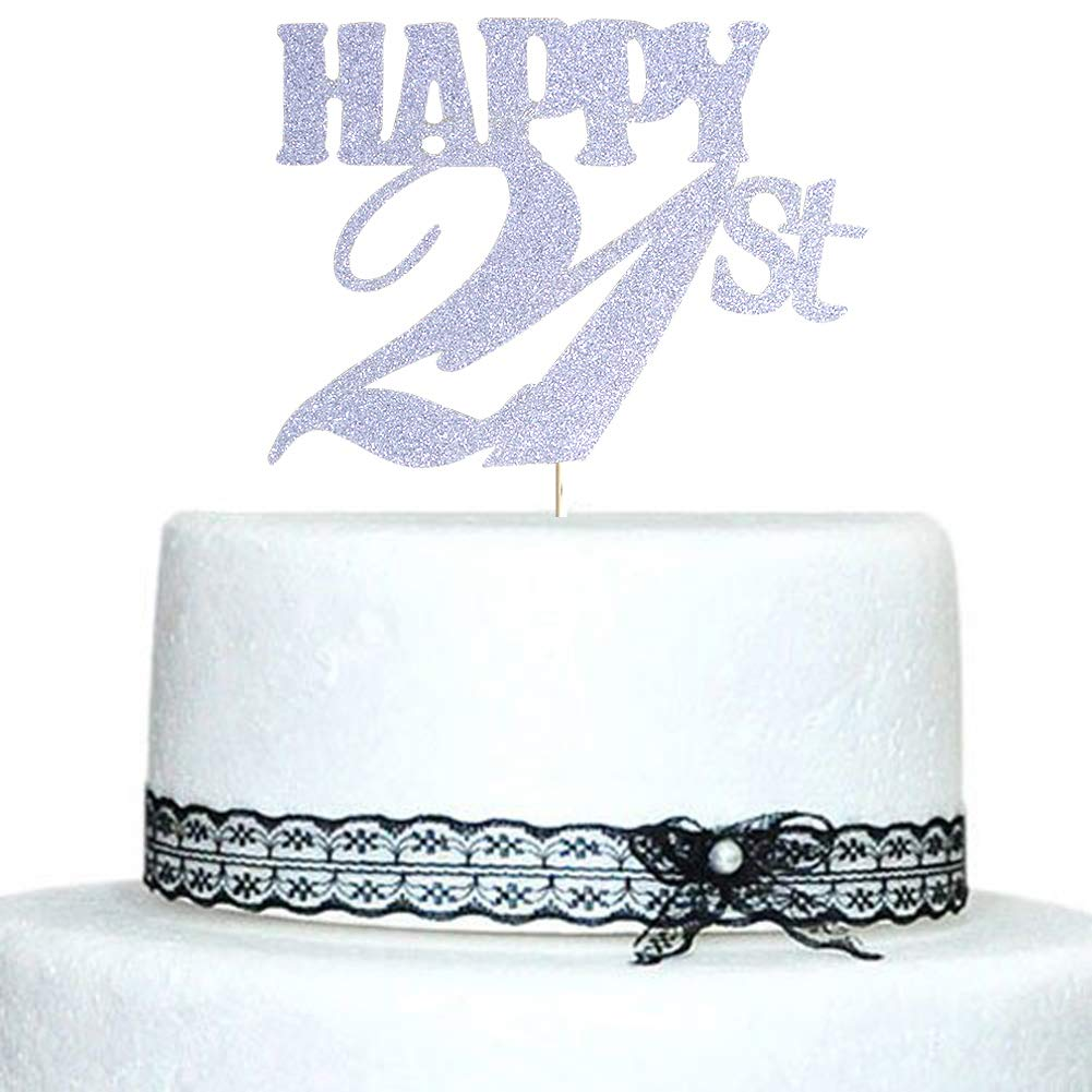 Happy 21st Cake Topper Silver Glitter For Birthday Wedding Anniversary Party Decorations