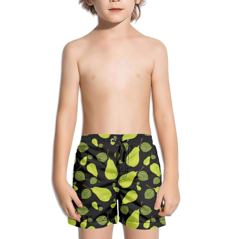 Boys Quick Dry Beach Board Shorts Green Paisley Kids Swim Trunks with Mesh Lining