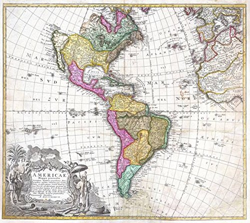 Imagekind Wall Art Print entitled Vintage Map Of North And South America (1746) by Alleycatshirts @Zazzle | 9 x 8