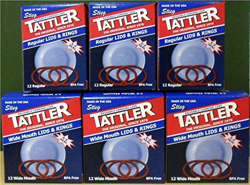 Authentic Tattler E-Z Seal Reusable Canning Lids - Trial Pack 3 Doz Regular + 3 Doz Wide