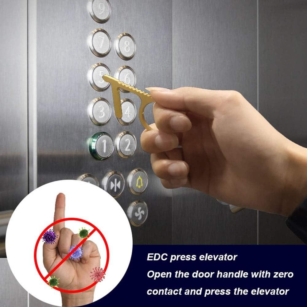 Lot de 6 cl/és de porte en laiton EDC sans contact avec cl/é de porte ouvre-bo/îte et outil cl/é sans contact