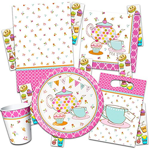 Tea Time Party Supplies Ultimate Set ~ Birthday Party Decorations, Party Favors, Plates, Cups, Napkins and More (Tea Time Party Supplies) -