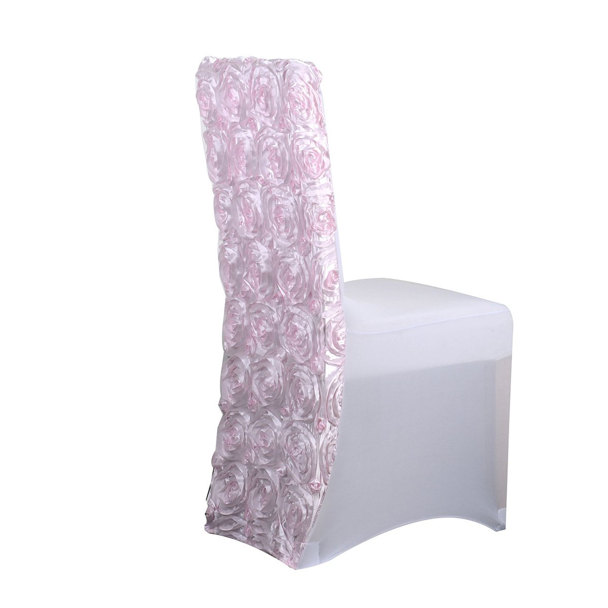 Fuzzy Fabric Rosette Spandex Chair Cover – Light Pink