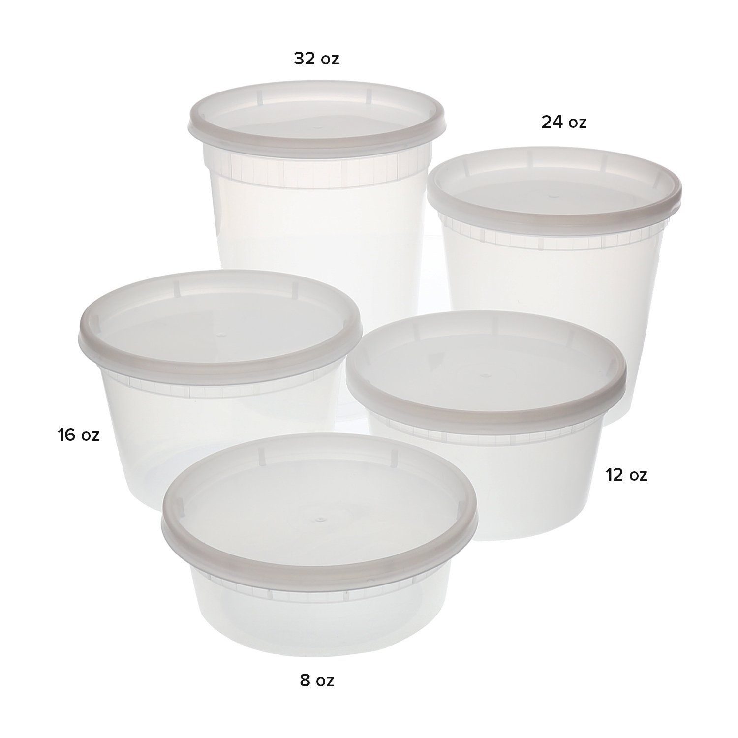 Tripak Premium Round Clear Plastic Deli Container with Lid, 355 ml ...