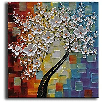 YaSheng Art   Hand Painted Oil Painting On Canvas White Flowers Paintings  Modern Home Interior