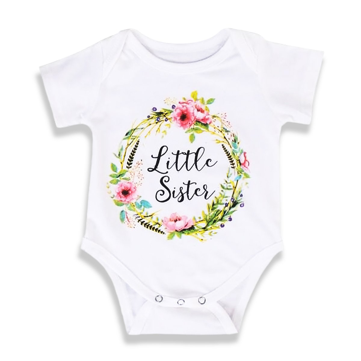 OBEEII Little Big Sister Matching Clothes Baby Kid Girl Floral T-Shirt Romper