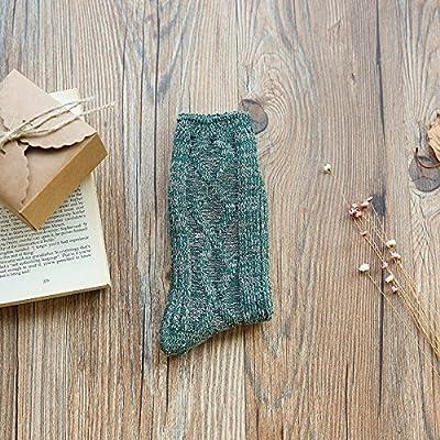 Maivasyy 3 paires de chaussettes en coton rétro amoureux d'épaisseur Tube Aiguilles Hommes et femmes Automne Hiver Bottes Chaussettes, vert