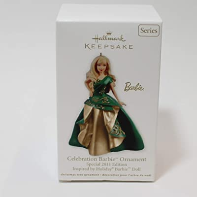 2011 Hallmark #12 in Series CELEBRATION BARBIE Ornament Special 2011 Edition Inspired by Holiday Barbie Doll: Home & Kitchen