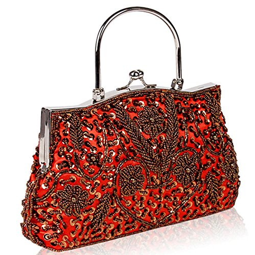 Clutch Bags£¬24 22cm Lock X red Metal Sequin Womens NVBAO Beaded Evening Satin Bag Kissing Design Frame SafPHqw