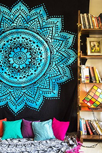 Mandala Hippie Tapestry Wall Hanging, Indian Ombre Bohemian Bedding Bedspread Set for Bedroom, College Dorm Room Boho Wall Art Decor or Home Blanket, Black Queen Size Blue Tie Dye Lotus (Super Trippy Hippie Halloween)