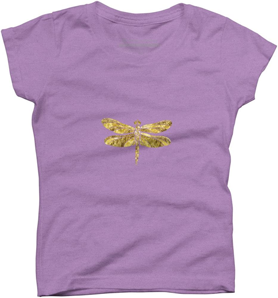 Design By Humans Gold Glam Dragonfly Girls Youth Graphic T Shirt